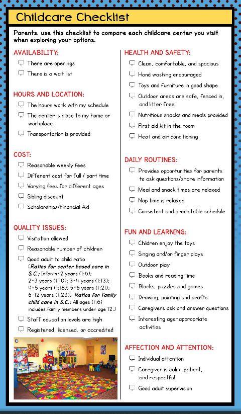 childcare checklist